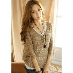 Women's Cotton Thread Fashionable Cardigan With String Openwork Dolman Sleeves V-Neck Design -