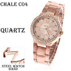 Fashion Chale Rhinestone Decoration Steel Quartz Analog Watch avec Numerals Indiquer Time Chasis pour Femme (Golden)