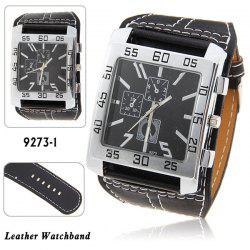 Nice Men's Quartz Wrist Watch with Water Resistant Square Shaped Dial 30mm Wide Brown Leather Band - BLACK