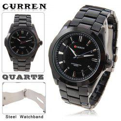 Leisure Style Curren Men's Wrist Watch with Waterproof Strips Indicate Time Black Dial Steel Band - Black