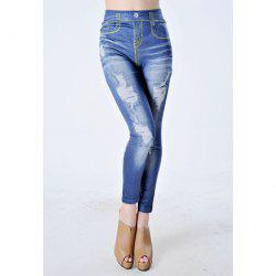 Wavy Design Broken Hole Printed High Waist Stretch Leggings - BLUE