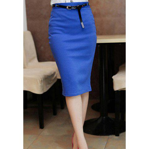 Unique Women's Pencil Skirt With Solid Color and Knee-Length Design