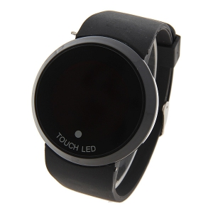 Stylish Digital Watch with Red LED Multi-Function Dound Dial Silicone Band -