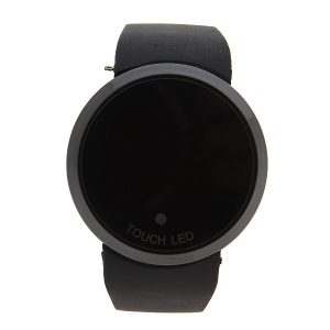 Stylish Digital Watch with Red LED Multi-Function Dound Dial Silicone Band - BLACK