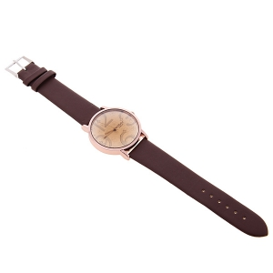 WoMaGe Trendy Girls' Watch with Quartz Hours Analog Flower Patterned Dial 20mm Leather Band - Brown -