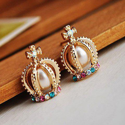 Online Exquisite Style Rhinestone Inlaid Faux Pearl Embellished Crown Shape Women's Earrings