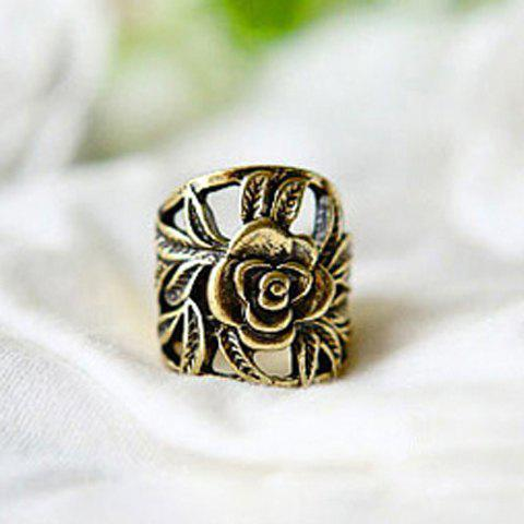 Online Retro Style Engraving Rose Shape Finger Ring - COPPER COLOR  Mobile