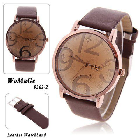 Store WoMaGe Trendy Girls' Watch with Quartz Hours Analog Flower Patterned Dial 20mm Leather Band - Brown