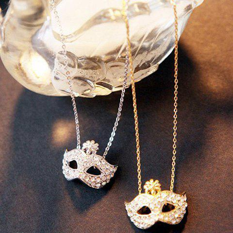 Outfits Masque Shape Rhinestone Flower Inlaid Pendant Necklace - COLOR ASSORTED  Mobile