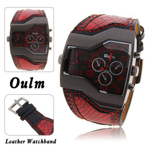 Outfits Oulm Multi-Function Dual Movt Leather Wrist Watch with Quartz Dial for Male RED