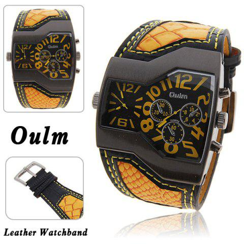 Oulm Multi-Function Dual Movt Leather Wrist Watch with Quartz Dial for Male - YELLOW