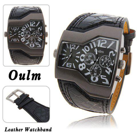 Store Oulm Multi-Function Dual Movt Leather Wrist Watch with Quartz Dial for Male BLACK