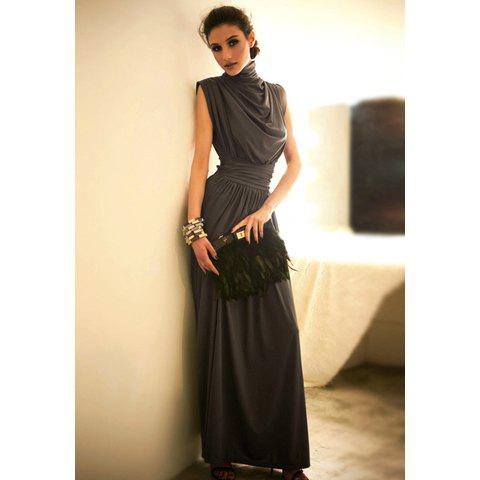 Sale Elegance Elastic Waist Ruffle Stand Collar Sleeveless Women's Prom Evening Dress