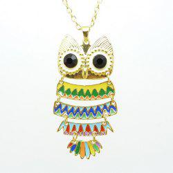 Colorful Style Rhinestone Embellished Owl Shape Alloy  Women's Necklace -
