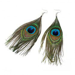 Ethnic Style and Stylish Peacock Feather Pendant Earrings For Women -