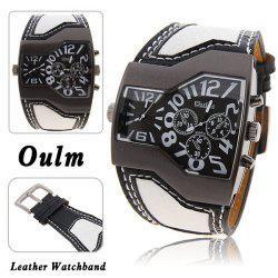 Oulm Multi-Function Dual Movt Leather Wrist Watch with Quartz Dial for Male -