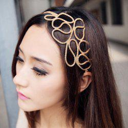 Europe Style and Elegant Openwork Braided Flower Shape Hair Band For Women - GOLD