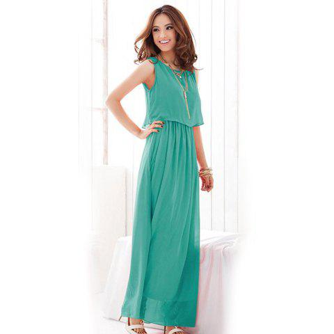b91c75360a7c 53% OFF] Stylish Bohemian Scoop Neck Sleeveless Chiffon Women's Maxi ...