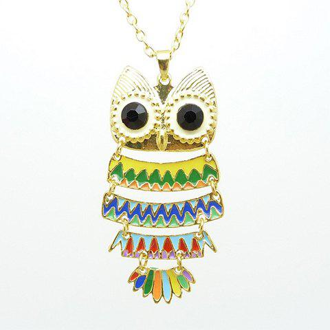 Rhinestone Embellished Owl Shape Alloy Necklace For Women