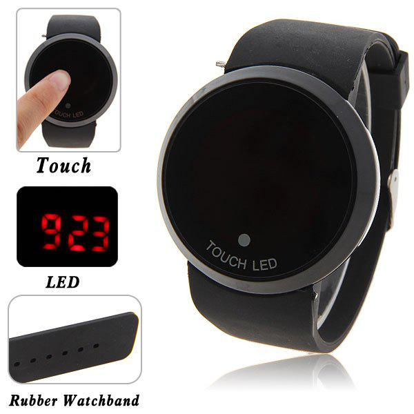 Cheap Stylish Digital Watch with Red LED Multi-Function Dound Dial Silicone Band