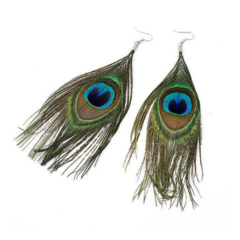 Ethnic Style and Stylish Peacock Feather Pendant Earrings For WomenJEWELRY<br><br>Color: COLORMIX; Earring Type: Drop Earrings; Gender: For Women; Material: Feather; Metal Type: Lead-tin Alloy; Style: Gothic; Shape/Pattern: Feather; Weight: 0.052KG; Package Contents: 1 x Earrings (Pair);