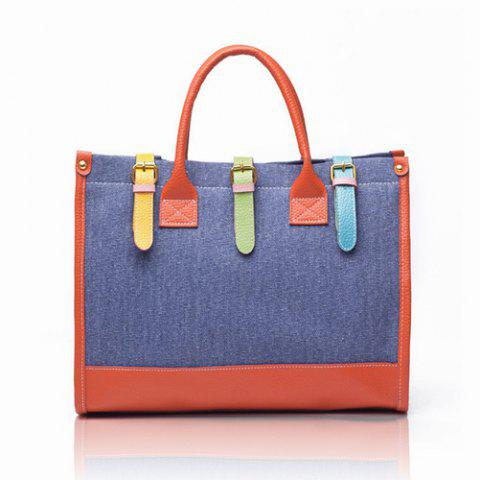 Affordable Fashion and Casual Color Block and Buckle Design Women's Handbag - BLUE  Mobile