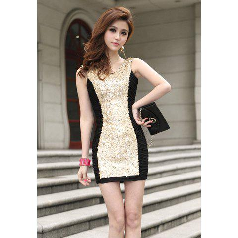 Outfits Elegant Ruffled Color Block and Sequin Embellished Design Women's Cotton Blended Dress