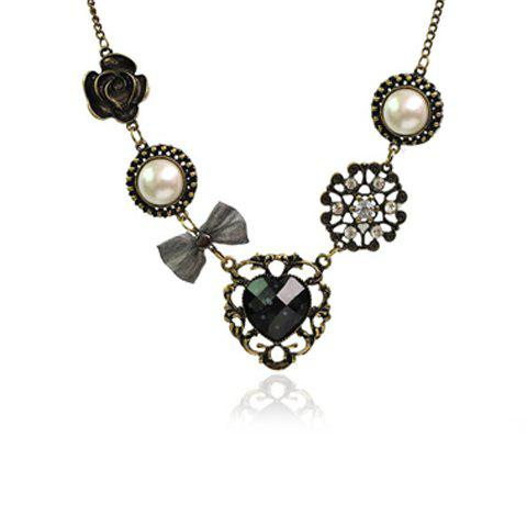 Latest Vintage Rhinestone Inlaid Heart Flower Multielement Pendant Necklace - AS THE PICTURE  Mobile