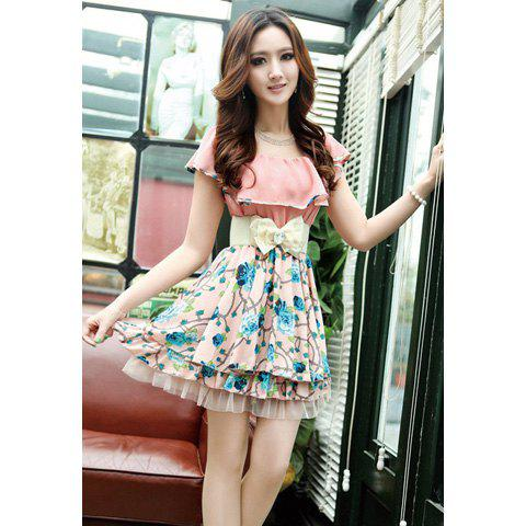 Buy Ladylike Floral Print Flouncing Chiffon Women's Dress With Bow Belt
