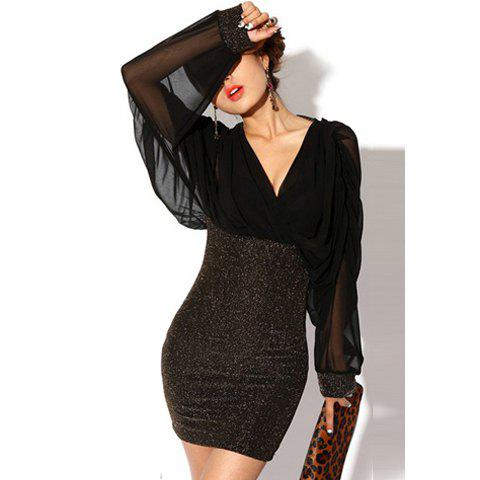 Outfits Retro Style V-Neck Splicing Chiffon Long Sleeves Slimming Club Cotton Blend Women's Dress