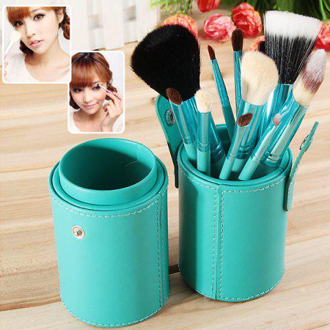 Latest Fashion 12PCS Green Barrel Soft Make-up Brushes (Green)