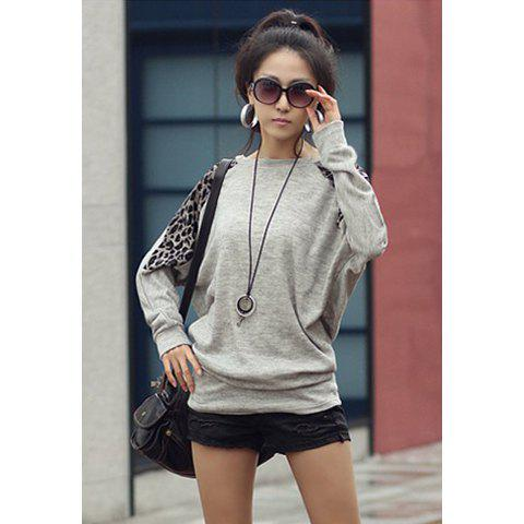 Online Morden Style Loose-Fitting Leopard Splicing Long Sleeves Women's Long T-Shirts - ONE SIZE LIGHT GRAY Mobile