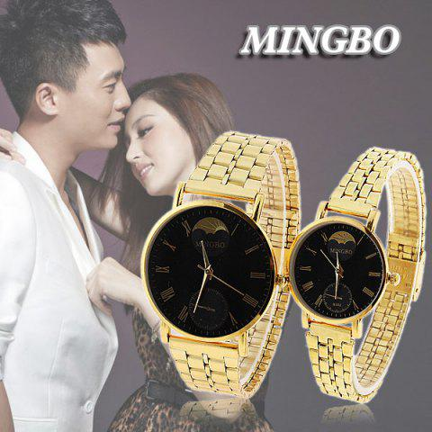 Hot Valentine Cheap Mingbo Steel Quartz Watches for Couple with Black Round Dial in Fashion Design - Golden