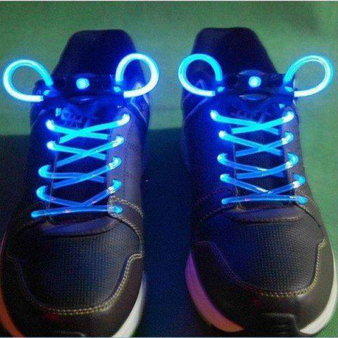 Cheap Special Stylish 3-Mode Colored LED Super Flashing Light Shoelaces for Halloween Party - BLUE  Mobile