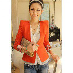 Laconic OL Style Slimming Shoulder Pad Embellished Cuff Flower Printed Long Sleeves Women's Blazers - JACINTH