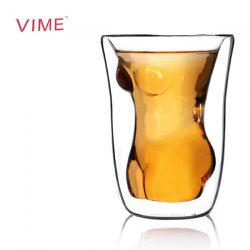 Durable Double Layer Pressed Beautiful Lady Shaped Handcrafted Glass Cup - Transparent -