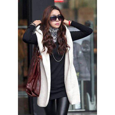 Latest Casual Imitation Fur and Solid Color Hooded Sleeveless Women's Jacket