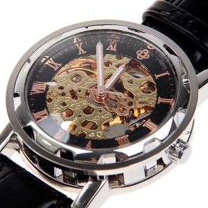 Hollow Mechanical Watch with Analog Round Dial Water Resistant Leather Watchband for Male -