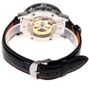 Hollow Mechanical Watch with Analog Round Dial Water Resistant Leather Watchband for Male - GOLDEN/BLACK