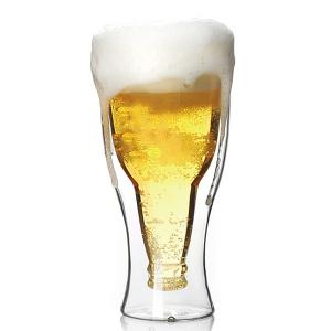 Durable Double Layer Transparent High Borosilicate Glass Upside-down Beer Cup - Silver