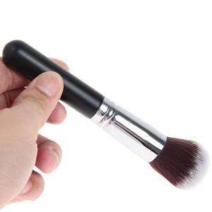 Fashionable Soft Cosmetic Copper Tube Round Head Brush Make-up for Women (Black and Silver) -