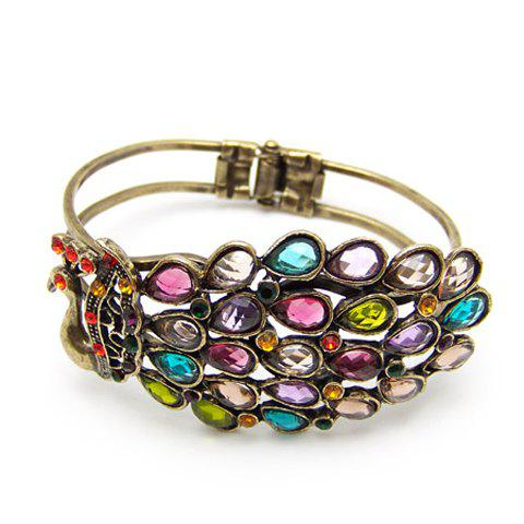 Shops Bohemian and Gorgeous Style Peacock Shape Colored Rhinestone Bracelets For Women