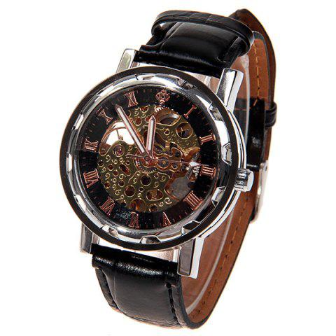 New Hollow Mechanical Watch with Analog Round Dial Water Resistant Leather Watchband for Male GOLDEN/BLACK