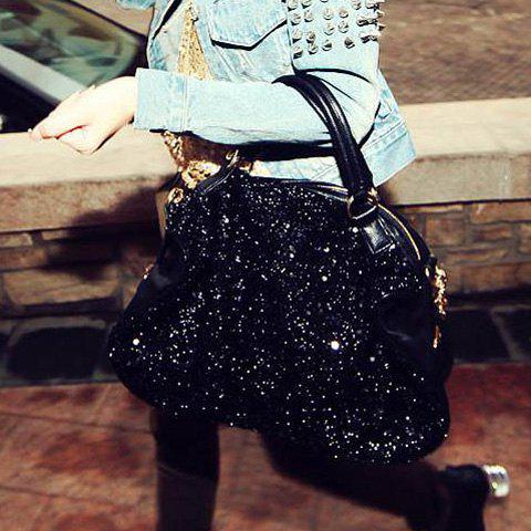 Fancy Stylish Solid Color Sequins Zipper Design Women's Tote
