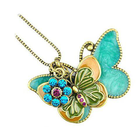 Hot Vintage Double Butterfly Design Rhinestone Embellished Sweater Chain - AS THE PICTURE  Mobile
