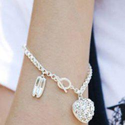 Ballet Shoes and Heart Pattern Rhinestoned Pendent Bracelet -