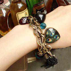 Vintage Peacock Feather Pattern Gemstone Inlaid and Mutielement Bracelet -