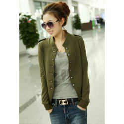 Stylish Slimming Fit Stand Collar Double Breasted Long Sleeve Women's Coat - ARMY GREEN