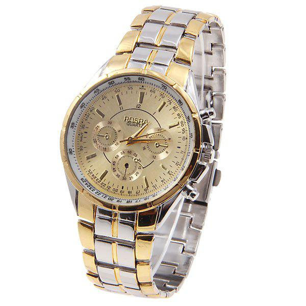 Rosra Mens Watches with Quartz Analog Round Shaped Dial Steel Watchband in New DesignJEWELRY<br><br>Color: GOLDEN; Watches categories: Male table; Watch style: Fashion; Available Color: Gold;