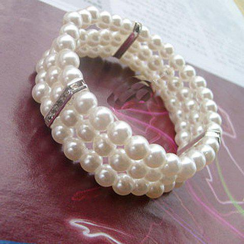 Cheap Faux Pearl Three Layered Design Bracelet - WHITE  Mobile